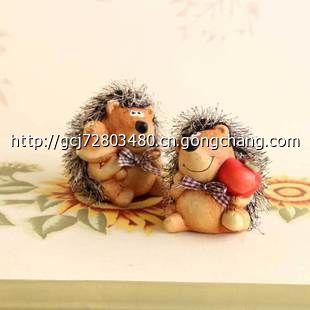 zakka森系 陶瓷刺猬摆件 家居饰品陶瓷工艺品田园可爱动物摆件