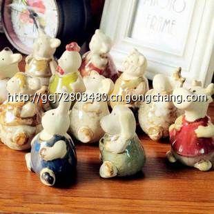 zakka日式杂货超萌陶瓷12生肖摆件 卡通迷你小摆设 动物十二生肖