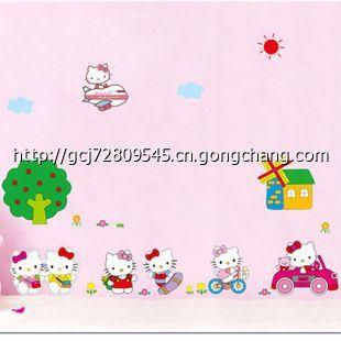 kt猫儿童房游乐园墙贴幼儿园装饰公主最爱 可爱卡通凯蒂猫 ay619