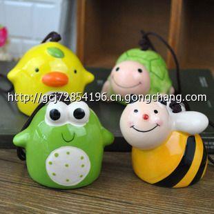 zakka杂货 日式青蛙动物风铃挂件 陶瓷工艺礼品 彩色小摆件批发