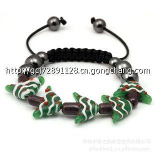 lha105 五串圣诞树串珠手链 圣诞节新款琉璃珠编织手链