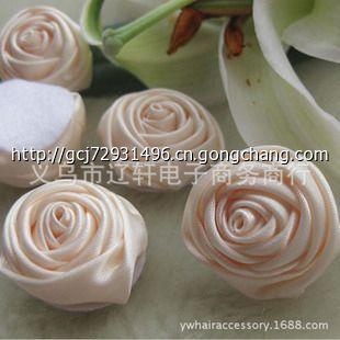 5cm立体缎带玫瑰花苞-绸缎玫瑰花制作 绸缎玫瑰花的制作方法