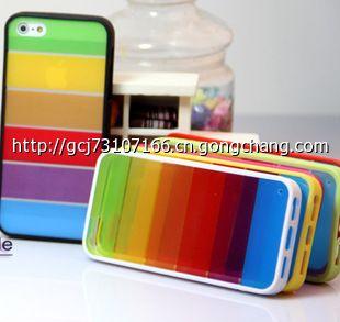 iphone5保护套 苹果5爆款壳硅胶边框 phone4外壳彩虹背壳 配件批